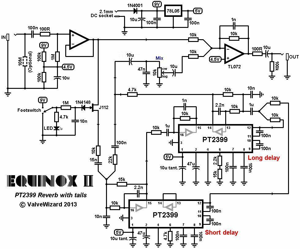 reverb effects pedal schematic