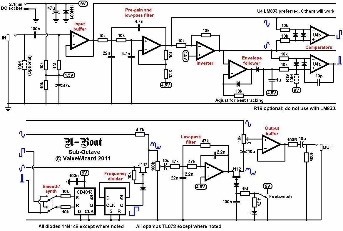 The Valve Wizard Zero Crossing Circuit Looking At U Boat First Opamp Simply Buffers Incoming Guitar Signal From Here It Splits Into Two Paths One Goes Directly To